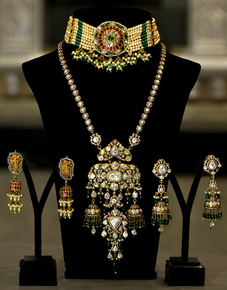 Emerald-Ruby-Choker-Set-With-Vintage-Collection-Long-Necklace-Set_Jaipur-Gems_Treniq_0