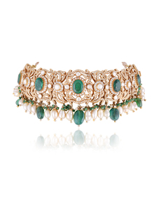 Polki-And-Diamond-Choker-With-Emeralds-From-The-Legacy-Collection_Hazoorilal-Legacy_Treniq_0